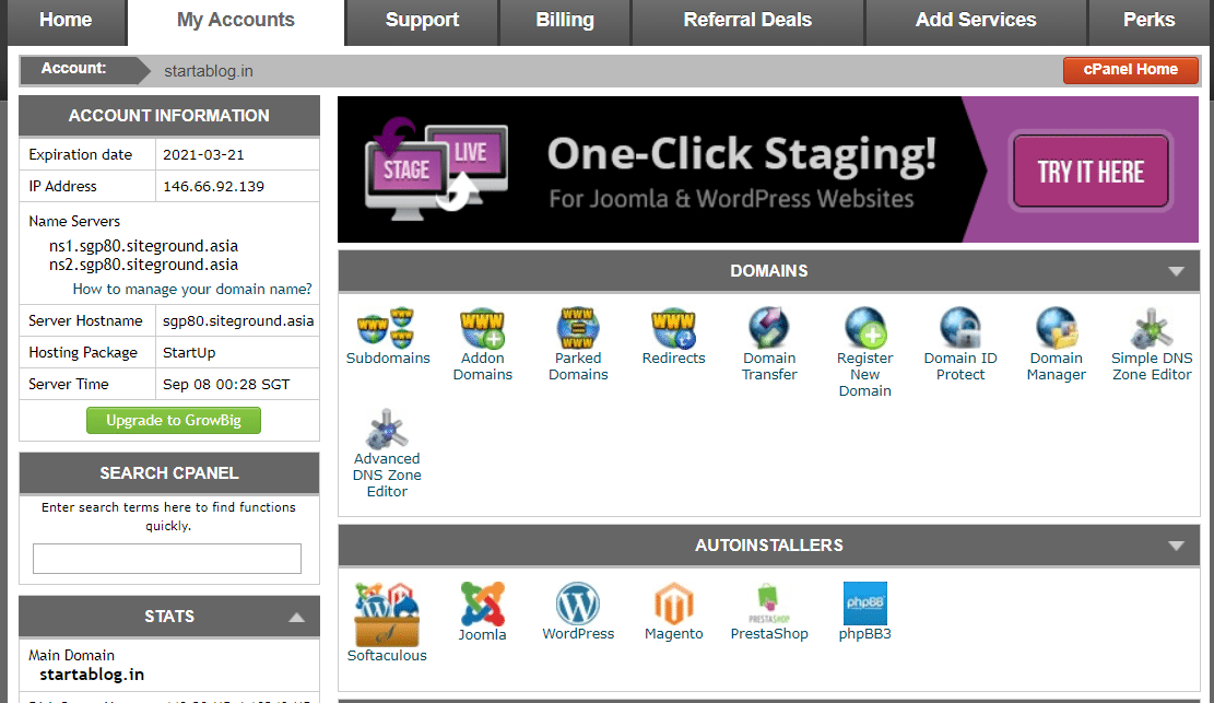 cpanel of siteground